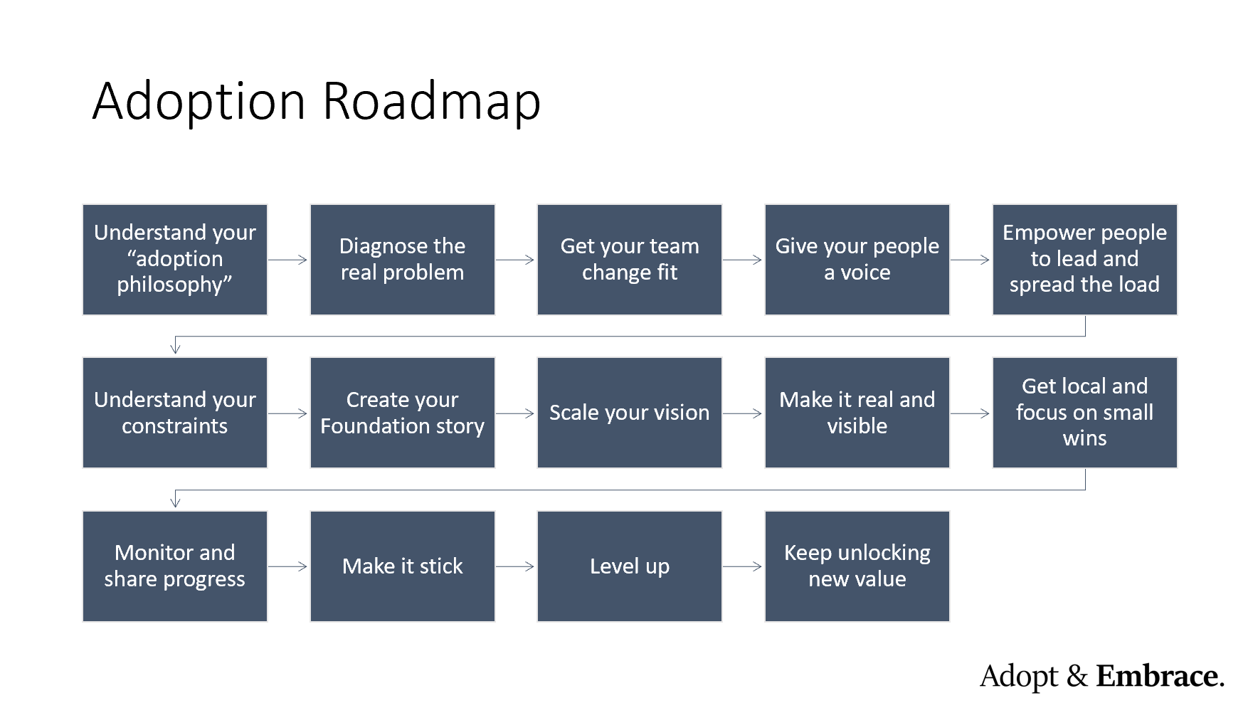 Visual depiction of the 14 steps of the Adopt & Embrace Adoption Roadmap